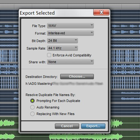 ProTools-Export Select Dialog
